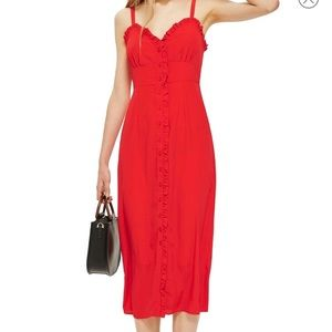 Topshop Red Ruffle Button Up Dress